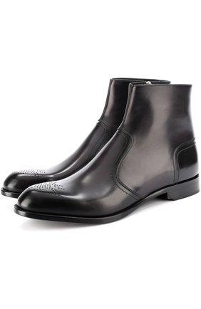Кожаные ботинки на молнии с перфорацией Dior черные | Фото №1