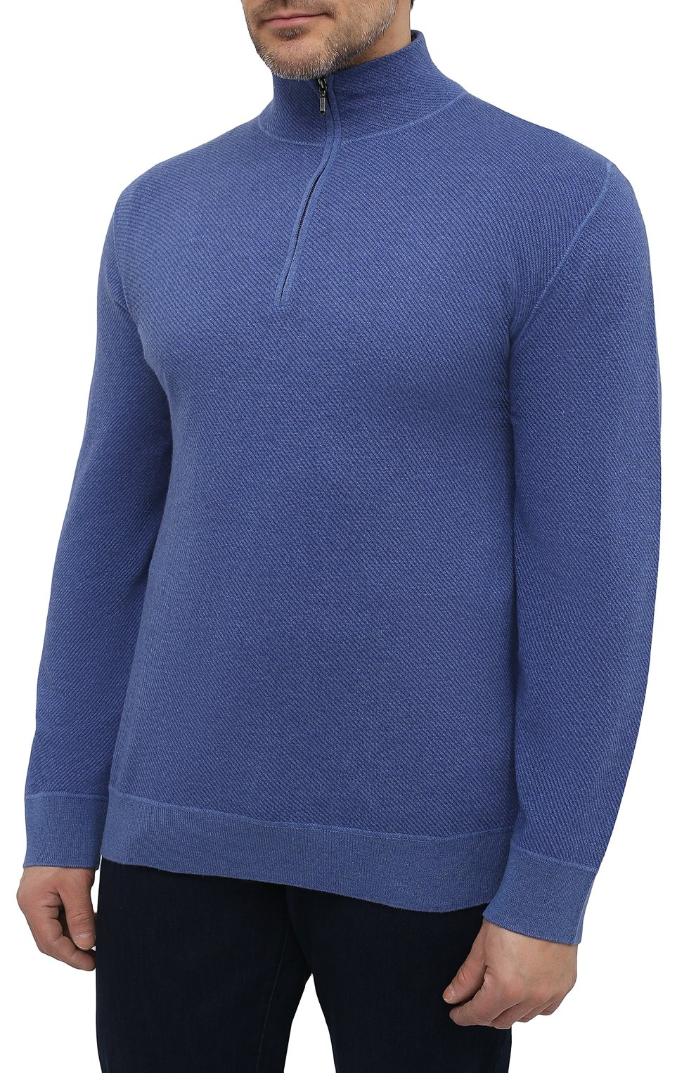 Кашемировый свитер с воротником на молнии   Фото №3