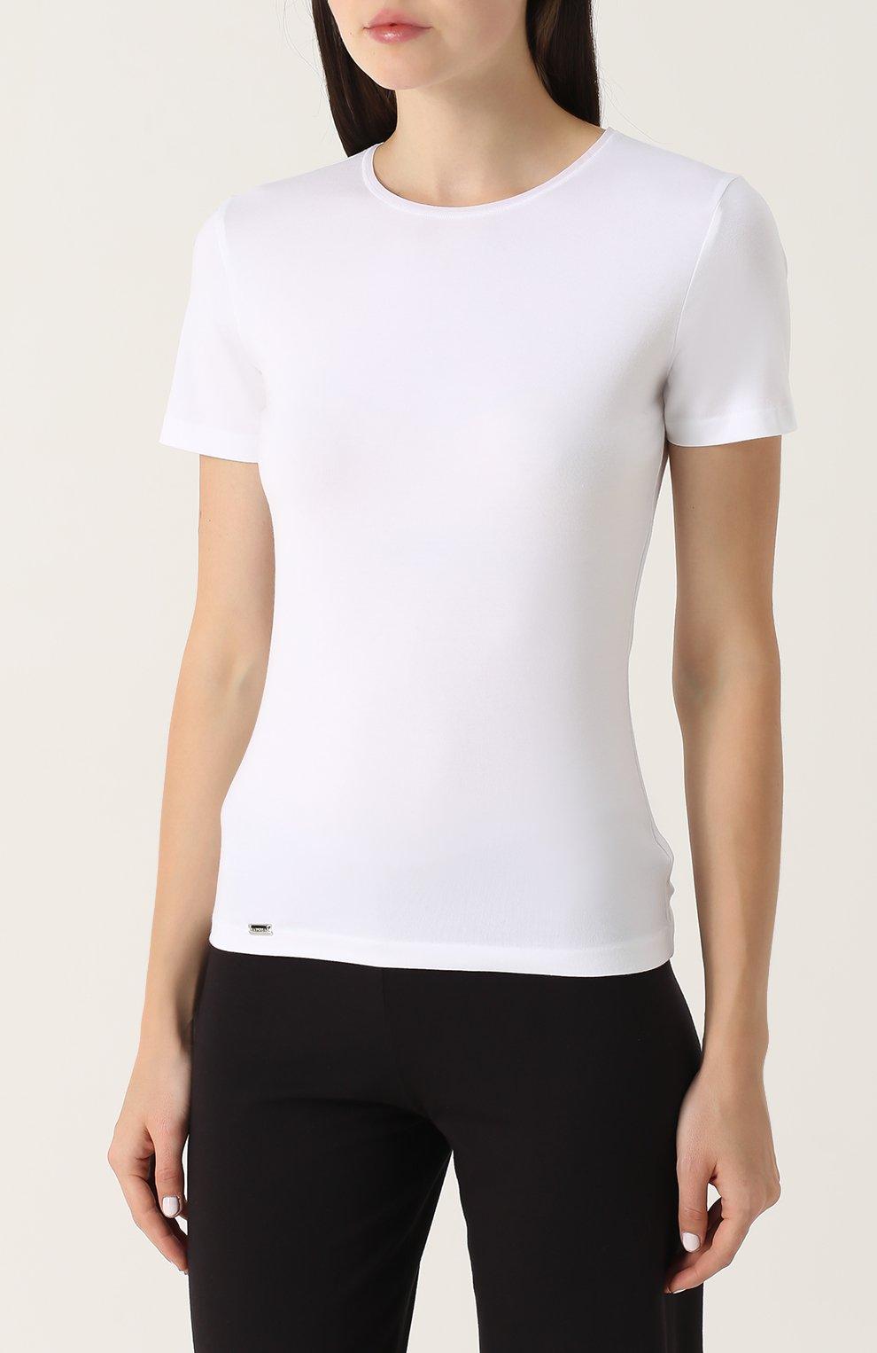 Приталенная футболка с круглым вырезом | Фото №3