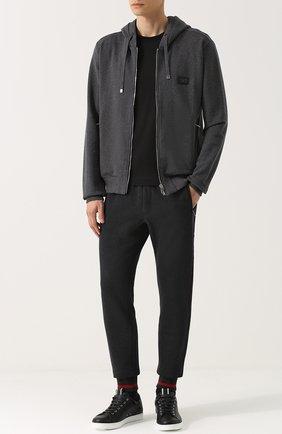 Хлопковые джоггеры с вышивкой Dolce & Gabbana темно-серые | Фото №2