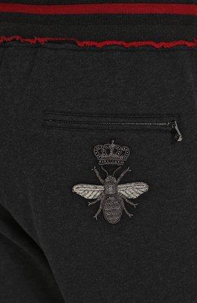 Хлопковые джоггеры с вышивкой Dolce & Gabbana темно-серые | Фото №5