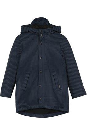 Удлиненная куртка с капюшоном Gosoaky темно-синего цвета | Фото №1