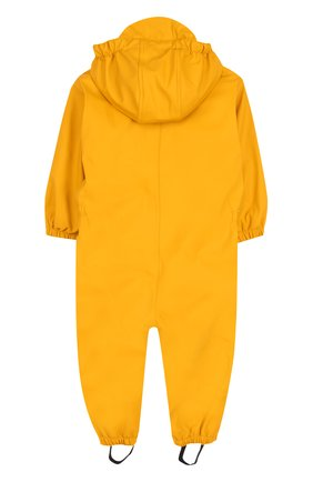 Детский однотонный комбинезон на молнии с капюшоном Gosoaky желтого цвета | Фото №1
