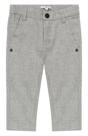 Детские хлопковые брюки прямого кроя GIVENCHY серого цвета, арт. H04006 | Фото 1