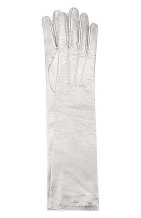 Удлиненные кожаные перчатки с металлизированной отделкой | Фото №1