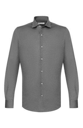 Мужская хлопковая рубашка LORO PIANA темно-серого цвета, арт. FAG3494 | Фото 1