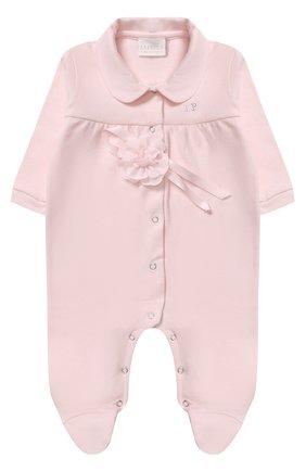 Детский хлопковая пижама с декоративным цветком LA PERLA розового цвета, арт. 52593/1M-12M | Фото 1