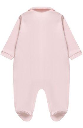 Детский хлопковая пижама с декоративным цветком LA PERLA розового цвета, арт. 52593/1M-12M | Фото 2