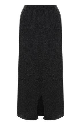 Однотонная шерстяная юбка-миди Tegin темно-серая | Фото №1