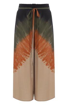 Укороченные шелковые брюки с принтом | Фото №1
