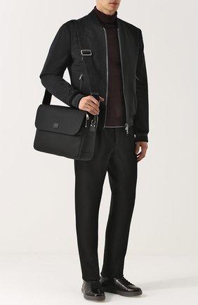 Текстильный мессенджер Panarea с кожаной отделкой Dolce & Gabbana черная   Фото №2