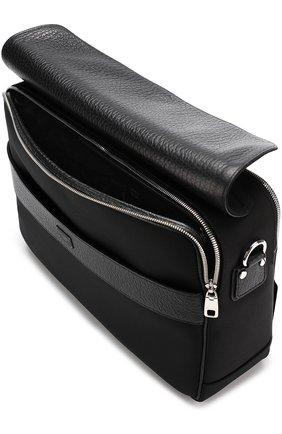 Текстильный мессенджер Panarea с кожаной отделкой Dolce & Gabbana черная   Фото №4