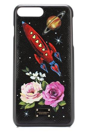 Кожаный чехол для iPhone 7 Plus с принтом Dolce & Gabbana    Фото №1