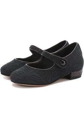 Парчовые туфли с ремешком | Фото №1