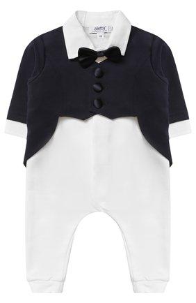 Хлопковый комбинезон с декоративным галстуком-бабочкой | Фото №1