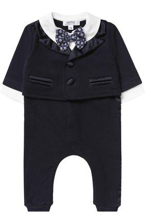 Пижама из эластичного хлопка с декоративным галстуком-бабочкой | Фото №1