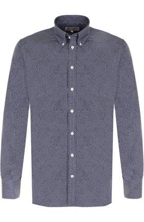 Хлопковая рубашка с воротником button down Turnbull & Asser темно-синяя | Фото №1