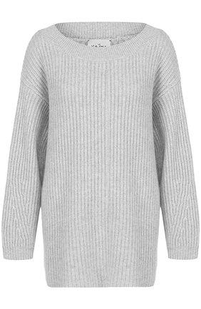 Кашемировый пуловер фактурной вязки Le Kasha светло-серый   Фото №1