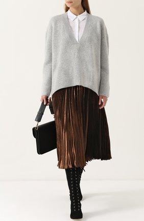 Кашемировый пуловер свободного кроя с V-образным вырезом Le Kasha темно-серый   Фото №1