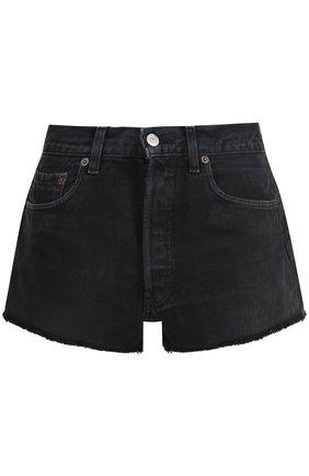 Джинсовые мини-шорты с потертостями Re/Done черные | Фото №1