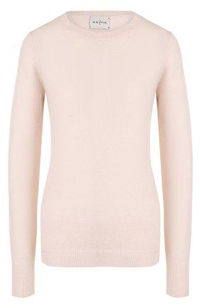 Приталенный кашемировый пуловер с круглым вырезом | Фото №1