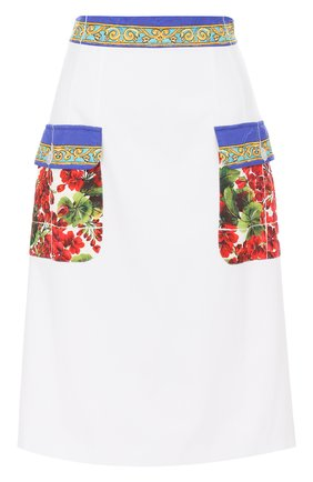 Юбка с контрастными карманами и поясом Dolce & Gabbana белая   Фото №1