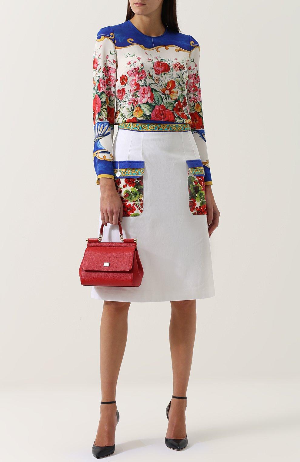 Юбка с контрастными карманами и поясом Dolce & Gabbana белая   Фото №2