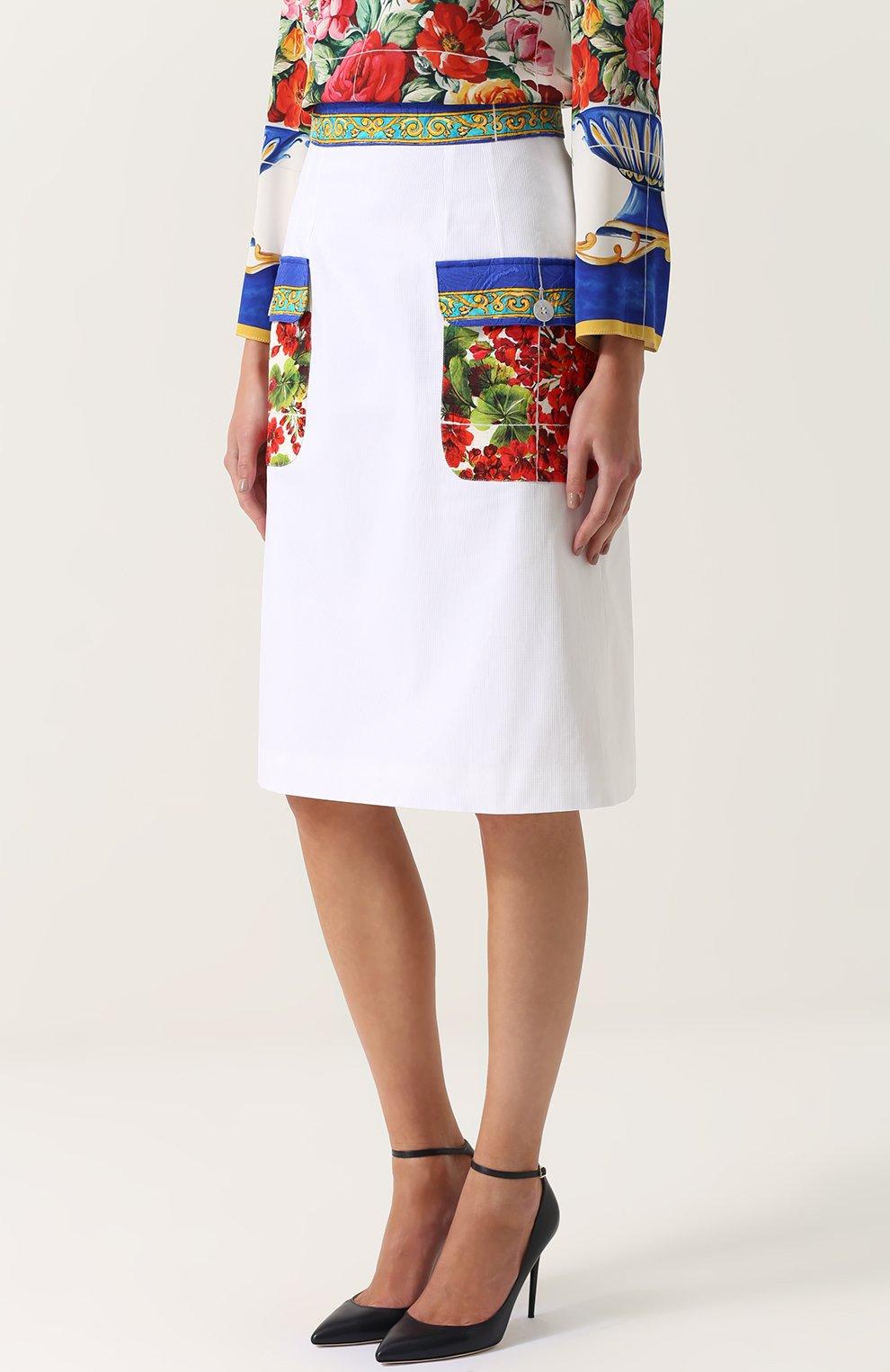 Юбка с контрастными карманами и поясом Dolce & Gabbana белая   Фото №3
