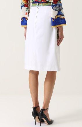 Юбка с контрастными карманами и поясом Dolce & Gabbana белая   Фото №4