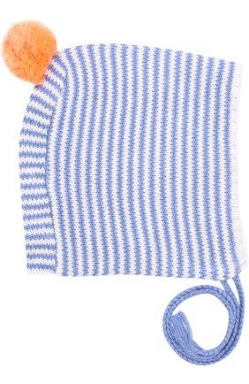 Хлопковая шапка с помпоном на завязках | Фото №1