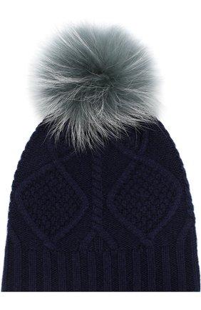 Шерстяная шапка фактурной вязки с меховым помпоном | Фото №1