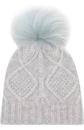 Шерстяная шапка фактурной вязки с меховым помпоном Yves Salomon Enfant голубого цвета | Фото №1