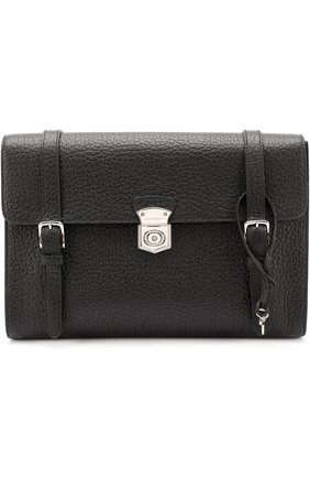 Кожаная папка для документов с клапаном Dolce & Gabbana черная | Фото №1