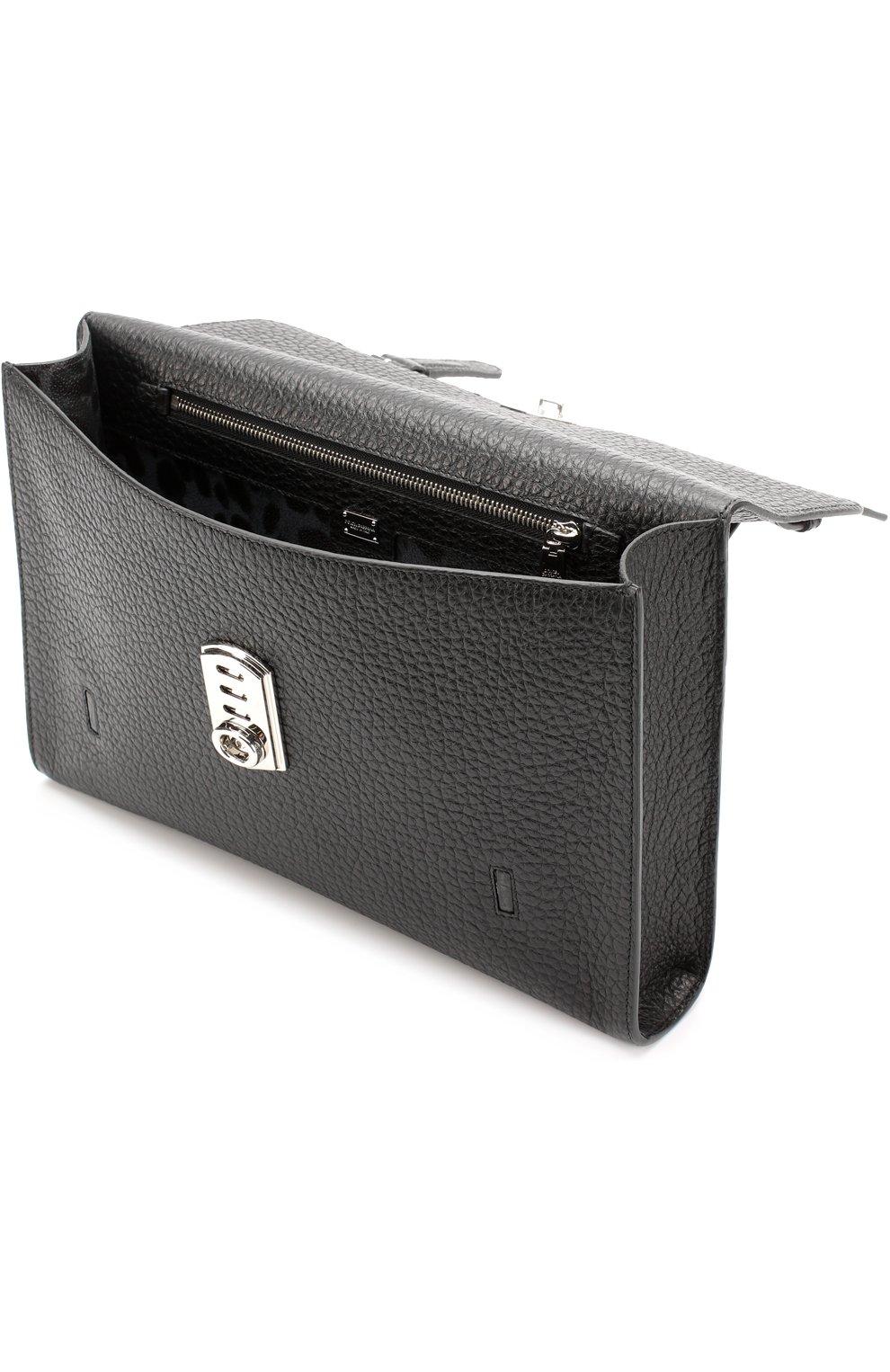 Кожаная папка для документов с клапаном Dolce & Gabbana черная | Фото №4