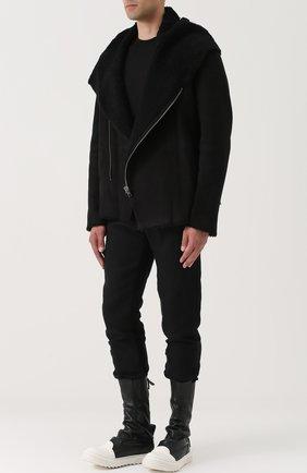 Высокие кожаные кеды без шнуровки на молнии Artselab черные   Фото №1