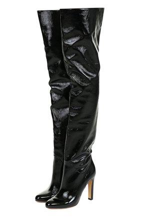 Лаковые ботфорты на устойчивом каблуке Francesco Russo черные | Фото №1