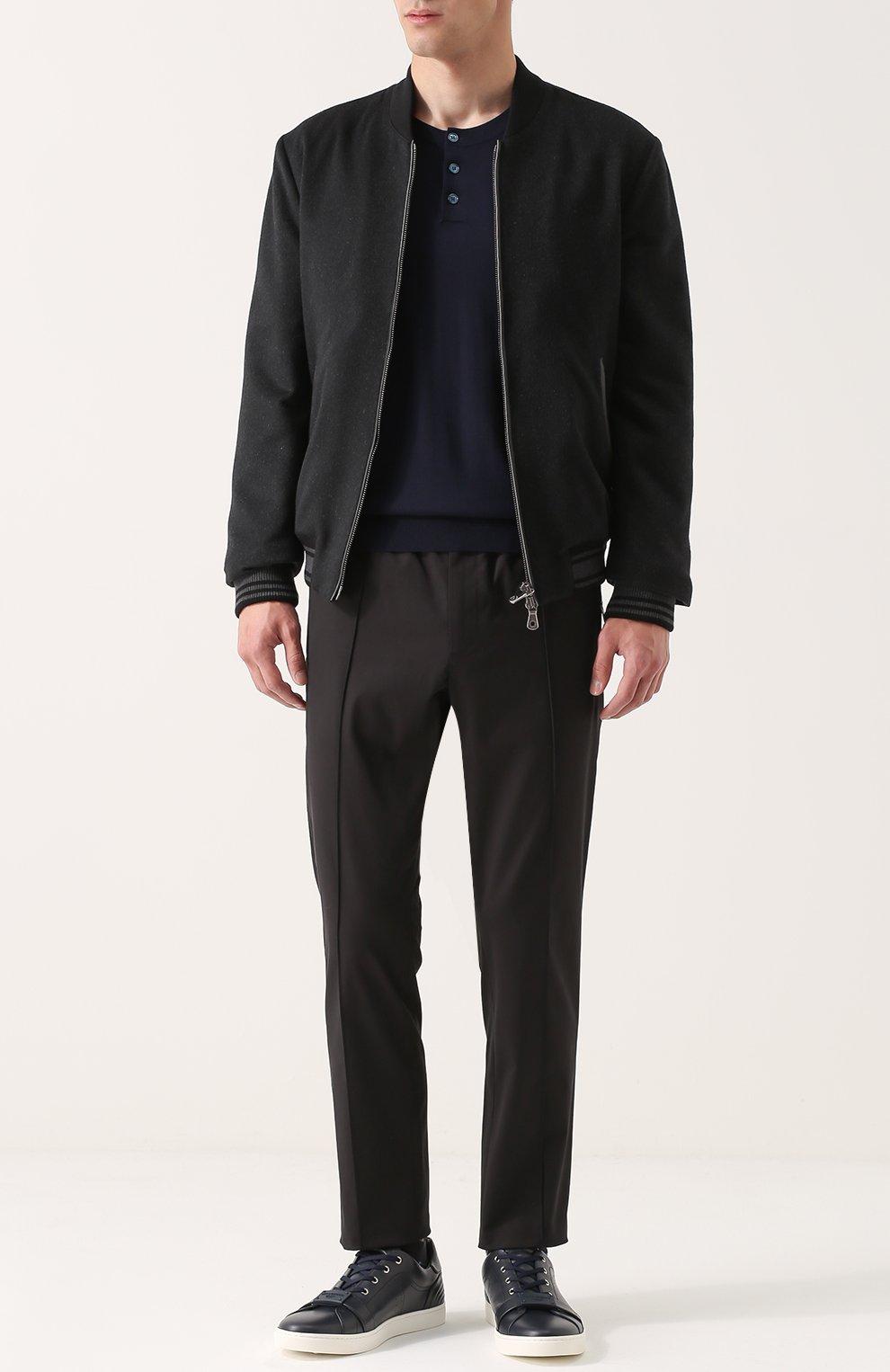 Джемпер из шерсти тонкой вязки с воротником на пуговицах Dolce & Gabbana темно-синий | Фото №2