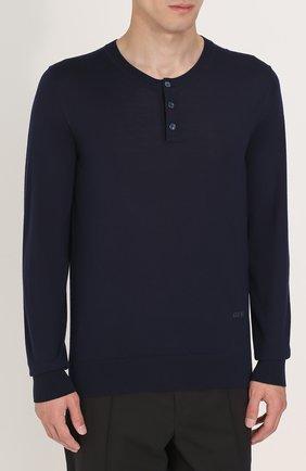 Джемпер из шерсти тонкой вязки с воротником на пуговицах Dolce & Gabbana темно-синий | Фото №3