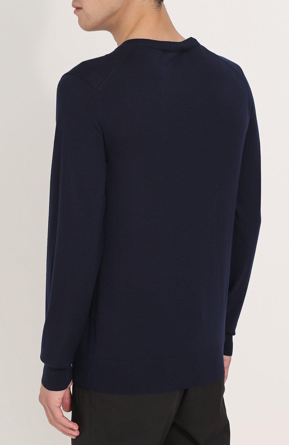 Джемпер из шерсти тонкой вязки с воротником на пуговицах Dolce & Gabbana темно-синий | Фото №4