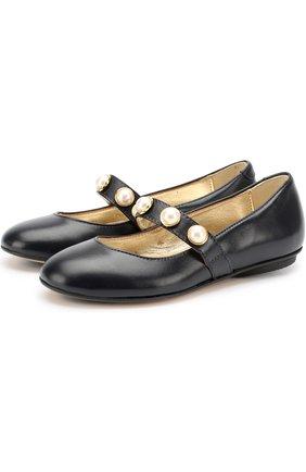 Кожаные туфли с жемчужинами | Фото №1