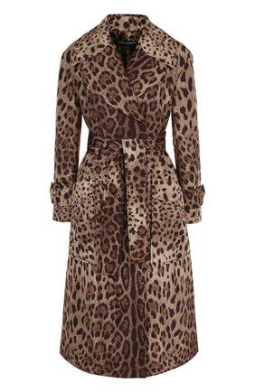 Пальто с поясом и леопардовым принтом | Фото №1