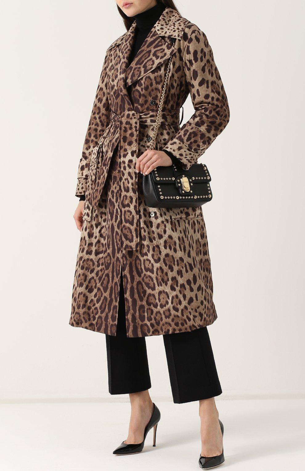Пальто с поясом и леопардовым принтом | Фото №2