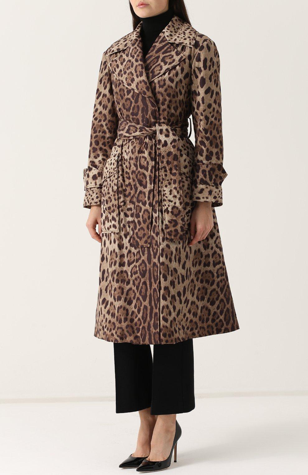 Пальто с поясом и леопардовым принтом | Фото №3