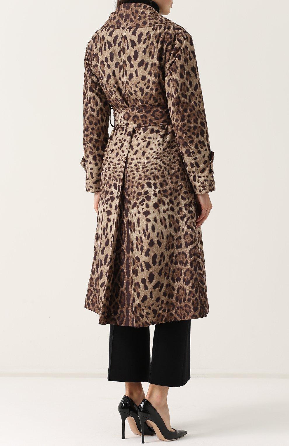 Пальто с поясом и леопардовым принтом | Фото №4