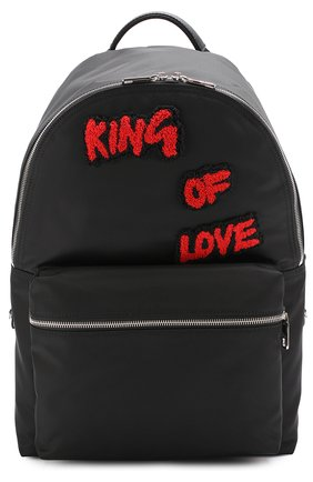 Текстильный рюкзак с контрастными нашивками Dolce & Gabbana черный | Фото №1