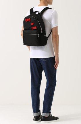 Текстильный рюкзак с контрастными нашивками Dolce & Gabbana черный | Фото №2