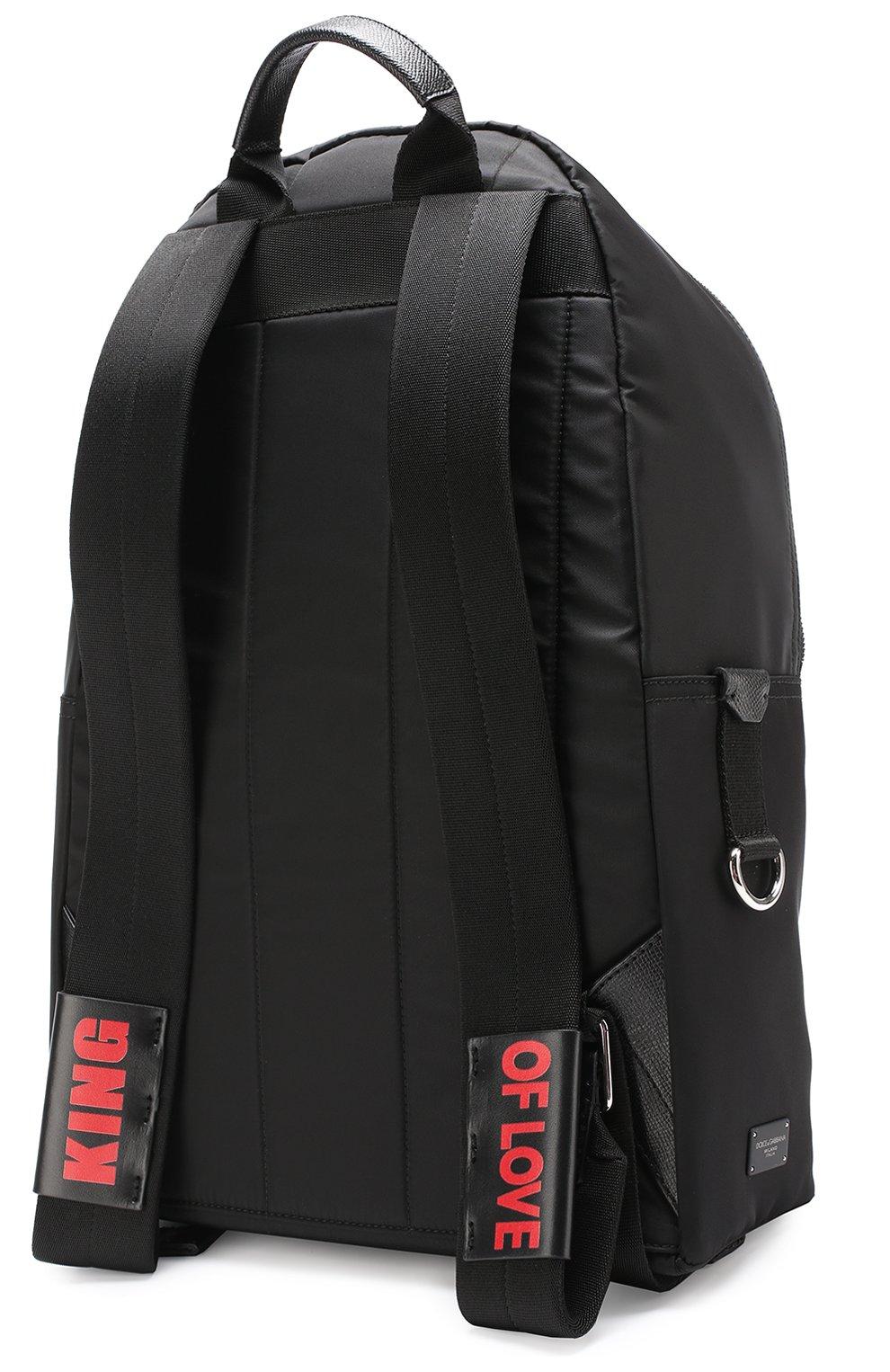 Текстильный рюкзак с контрастными нашивками Dolce & Gabbana черный | Фото №3