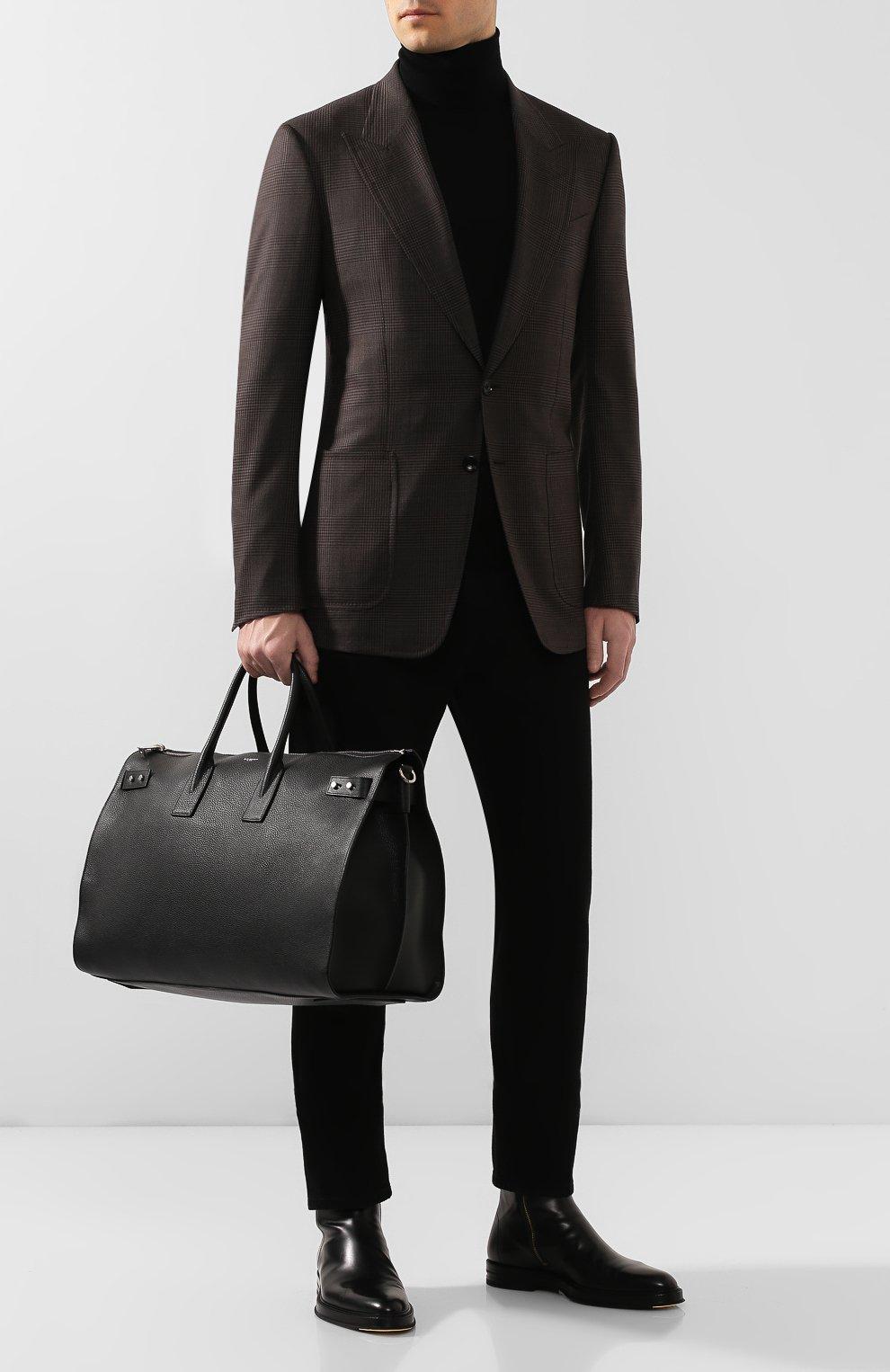 Кожаная дорожная сумка с плечевым ремнем Saint Laurent черная | Фото №2