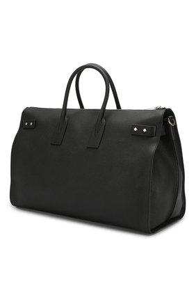 Кожаная дорожная сумка с плечевым ремнем Saint Laurent черная | Фото №3