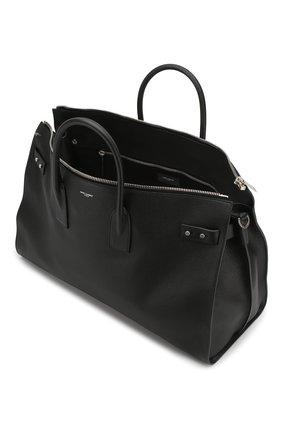 Кожаная дорожная сумка с плечевым ремнем Saint Laurent черная | Фото №4